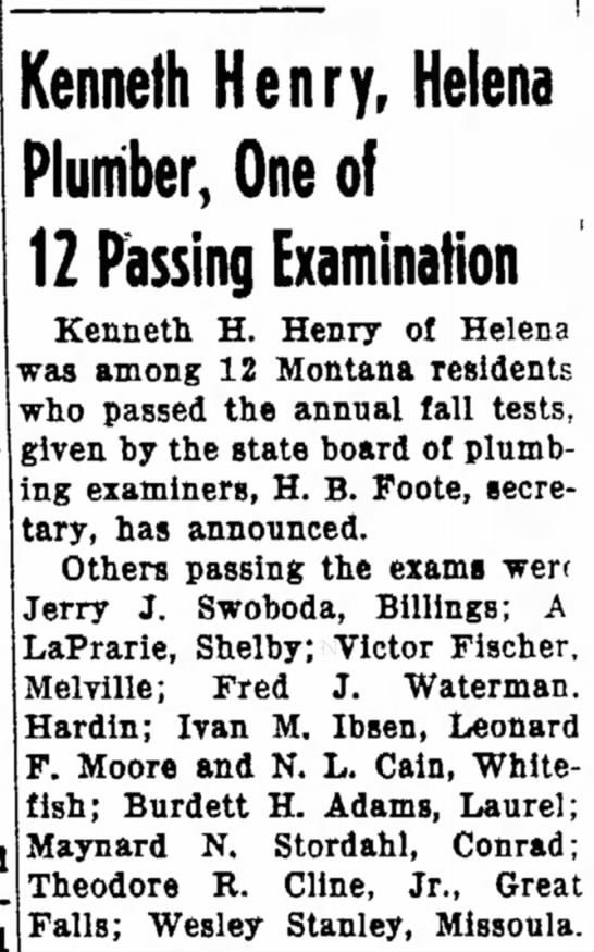 Passing Exam  - refiners. of Us portion Kenneth Henry, Helena...