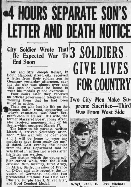 4 hours separate son's letter and death notice: 1945 - 4 HOURS SEPARATE SON'S LETTER AND DEATH NOTICE...