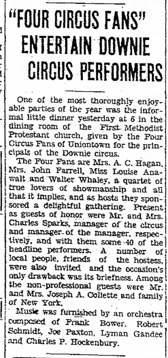 "Sparks Article 8-26-1931 - will of on or later sure of Free ""FOUR CIRCUS..."