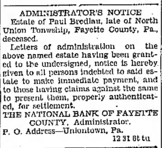 - undersigned ADMINISTRATOR'S NOTICE Estate of...