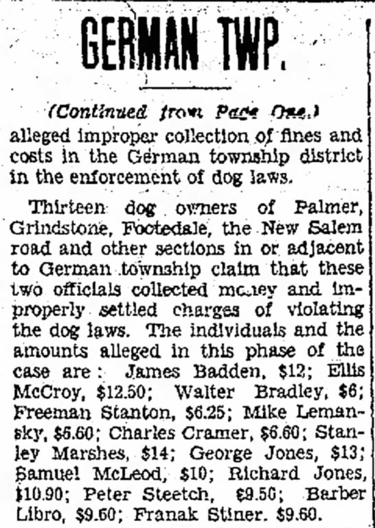 Joseph Tate Constable Held For Court (2) 28 Oct 1930 - alleged improper collection oj fines costs In...