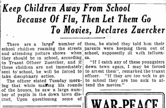 Keep Children Away from School Because of Flu, Then Let Them Go to Movies, Declares Zuercker - Keep Children Away From School Because Of Flu,...