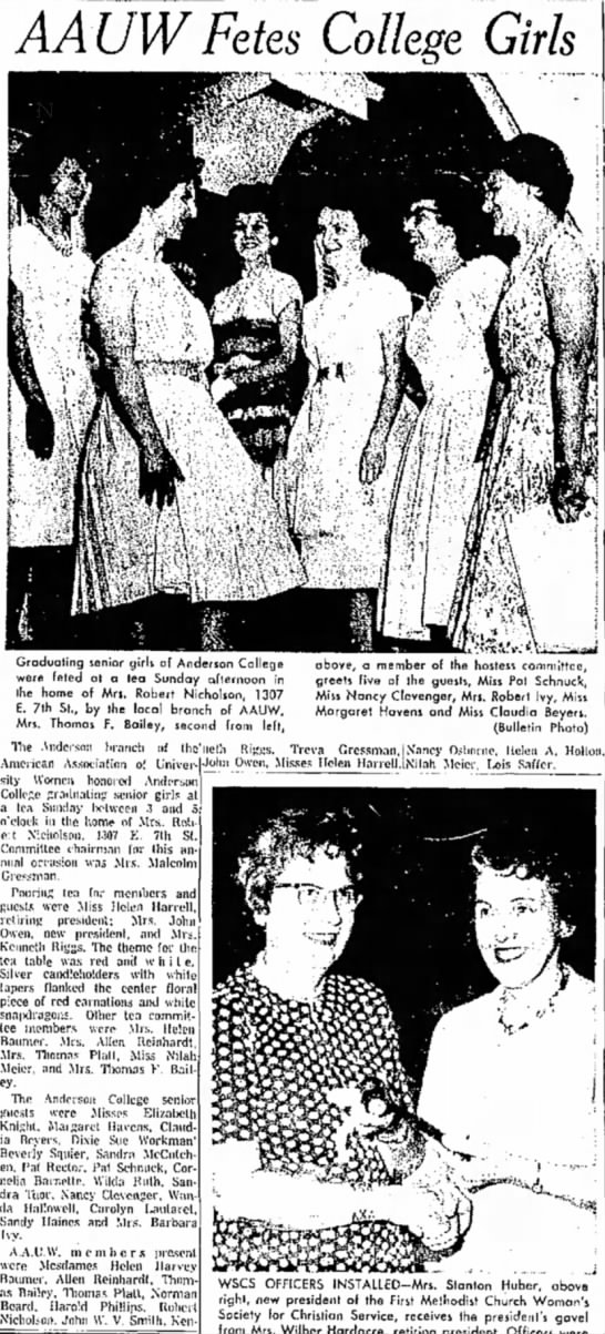 Anderson Daily BulletinMay 20, 1963Anderson University Seniors - AAUW Fetes College Girls Associalinn o! Univer-...