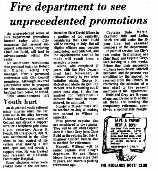 1976-5-14 Fire Department to see Unprecedented Promotions - Fire department to see unprecedented promotions...