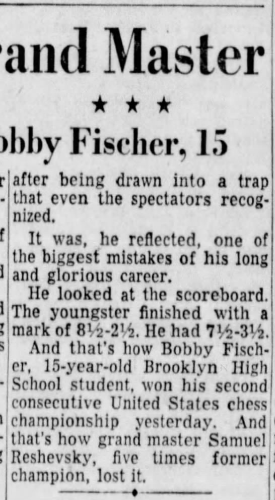 Time Runs Out On Grand Master: Two Draws Give Chess Title to Bobby Fischer, 15 - Master Fischer, 15 corn- after being drawn into...