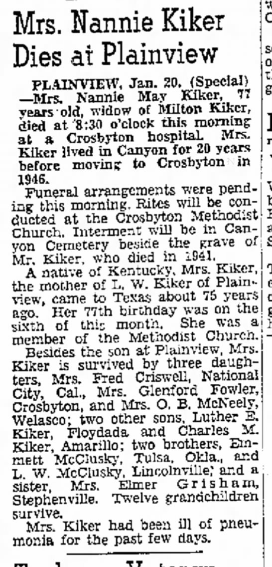 Nannie Kiker - Mrs. Nannie Kiker Dies at Plainview PLAINVIEW,...
