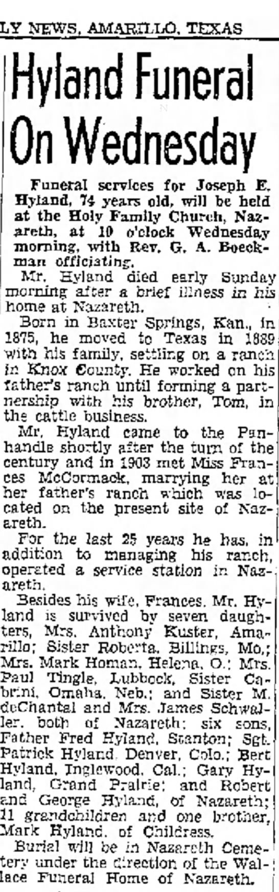 Grand Daddy obituary - DAILY NEWS, AMARILLO, TEXAS Hyland Funeral On...