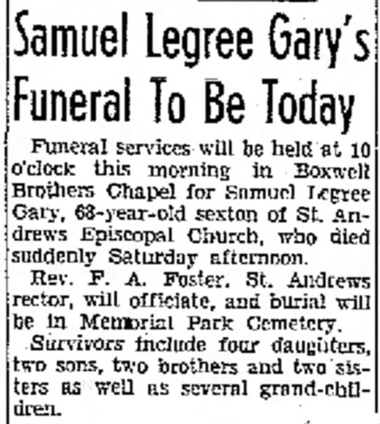 Sam Gary Obit d. 6 apr 1940 - a the trading another. as in Samuel Legree...
