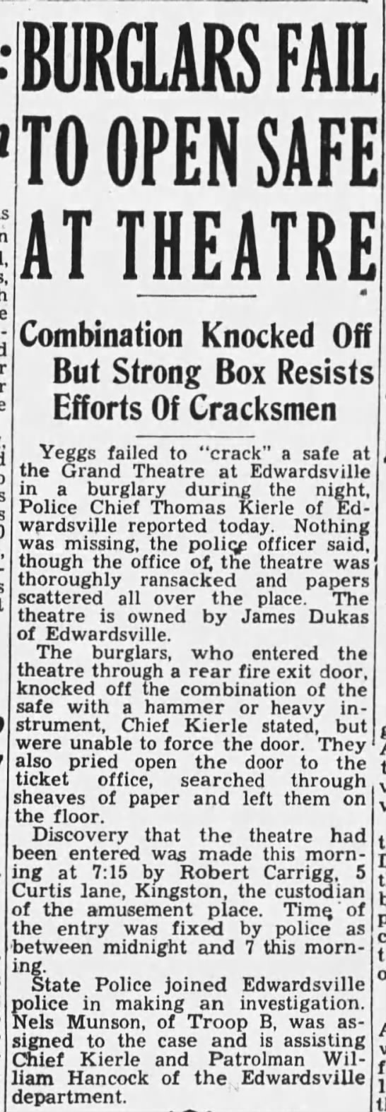 Grand Theatre Burglary 1946 - FAIL JQ Qpj?ty SAFE AT THEATRE Combination...