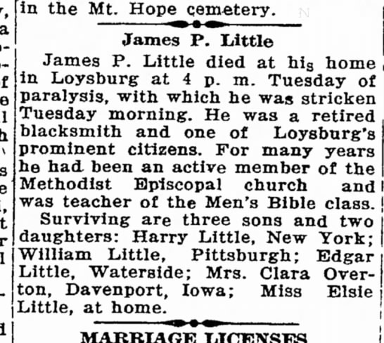 James P. Little, ObitBedford Gazette, 14 June 1929 - to- he which the at for during in the Mt. Hope...
