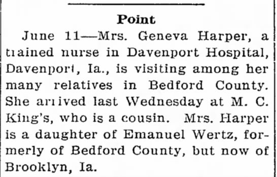 Geneva Wertz Harper, RN visits from Iowa. - in of New Point June 11--Mrs. Geneva Harper, a...