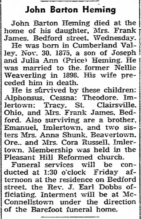 Obituary - Heming, John Barton - Bank. Val' 30. Bed' and R. Mrs. Reformed...