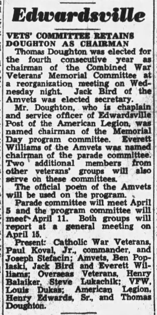 Dad VFW 1949 - Edivardsvillc VETS' COMMITTEE RETAINS DOUGHTON...
