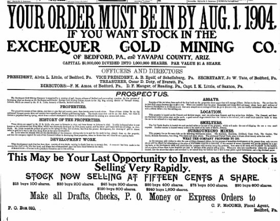 "Bedford Gazette, 22 July 1904 - cure."" Sold by Ed. D. Heckerman. not know them..."