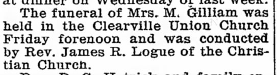 Gilliam, Elizabeth B Kennard- burial announcement - 'Oster-are weeks The funeral of Mrs, M....