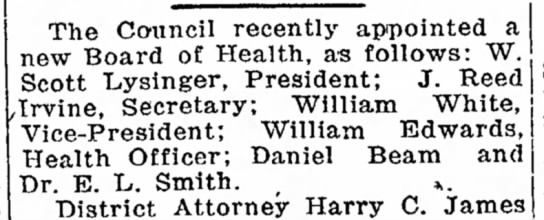 William Edwards, health officer-Bedford Gazette-p.1-3 June 1921 - from B. was The Council recently appointed a...