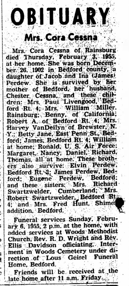 Obituary of Cora Perdew Cessna - to dinner because Ritter about...