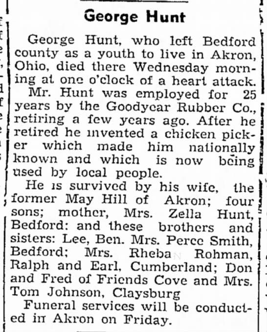 Obituary of George Hunt - of home dinner, had John George Hunt George...