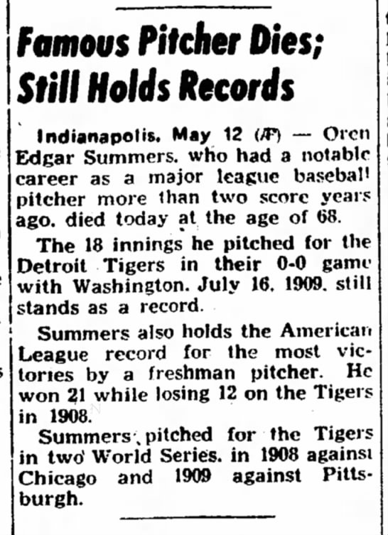 Ed Summers -  Famous Pitcher Dies; Still Holds Records 1953