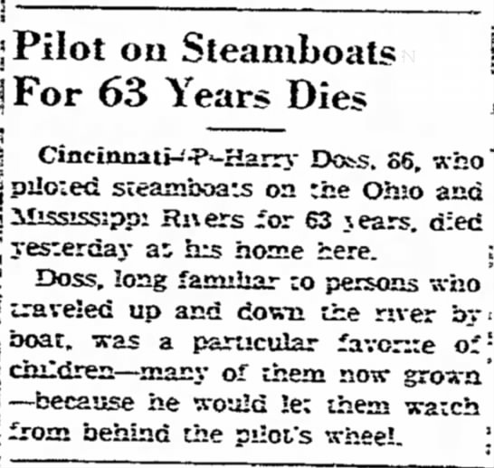 "Man Pilots Steamboats for 63 Years - j -- . """" ^^