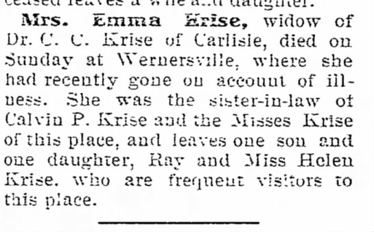 Krise, Emma 1906 - aud j { Xace of f ' j j ! this place. of last...