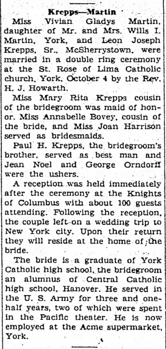 Wedding of Vivian Martin and Leon Krepps - stars stationed Carniel Krcpps--Martin Miss...