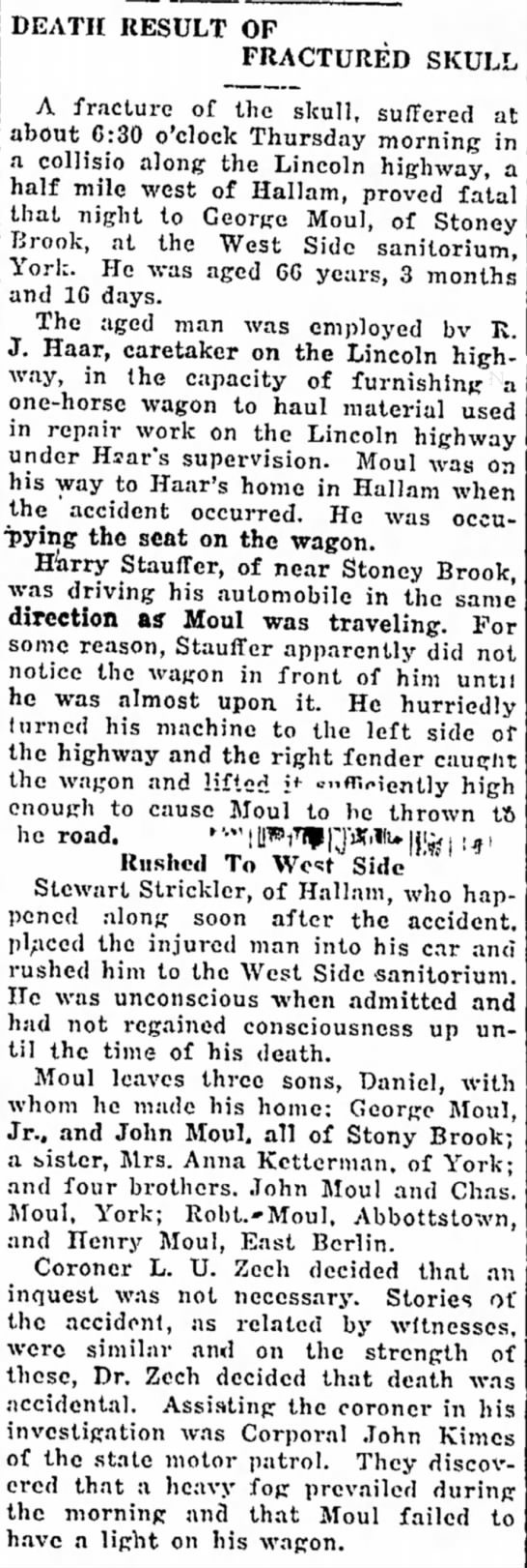 George Moul accident-Nov 1927 - meeting meeting she number succumbed recently...
