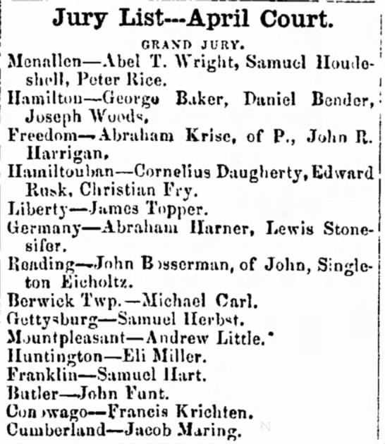 Cornelium Daugherty, Jury List - be Hainiltouhan -- Cornelius Daugherty, liut.k,...
