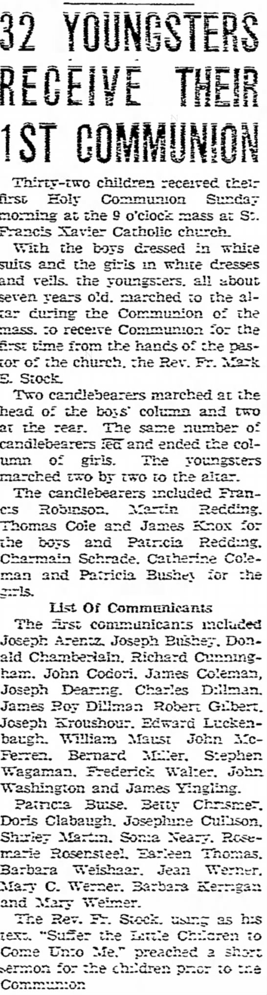 Earleen Thomas 1st communion - J was · on ; corn- of! Francis Xavier Catholic...
