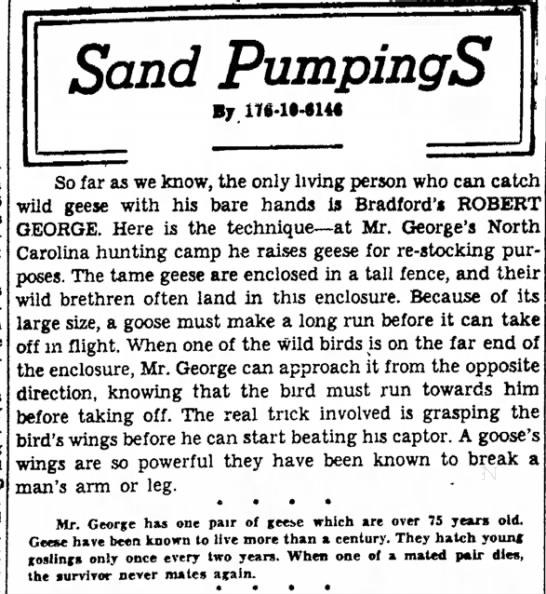 Robert George, Hunting North Carolina, Bradford Era 10/12/1949 - a Boys There Brad Hi-Y and held Sand PumpingS...