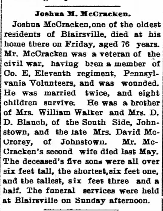 Joshua McCracken Obit - Pangherty greatest man who name of It is not...
