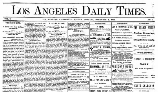 First issue of the Los Angeles Times, 4 Dec 1881