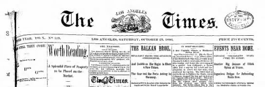 "Los Angeles Times appears without ""Daily"" in title for first time, 23 Oct 1886"