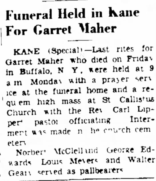 - . Funeral Held in Kane For Garret Maher KAisE...