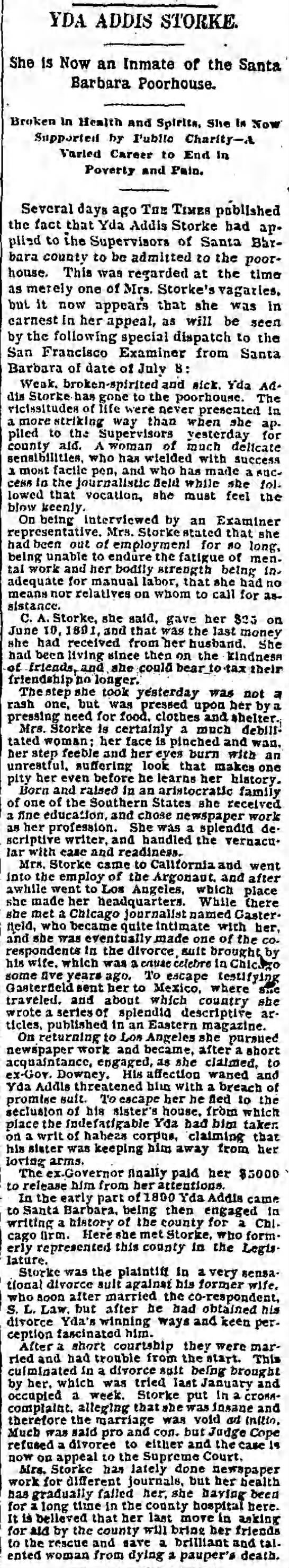 Now an Inmate of the Santa Barbara Poorhouse - IDA ADDIS ST0JIKJS. She is Now an Inmate of the...