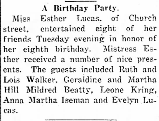 Esther Lucas birthday - A. of A Birthday Party. Miss Esther Lucas, of...