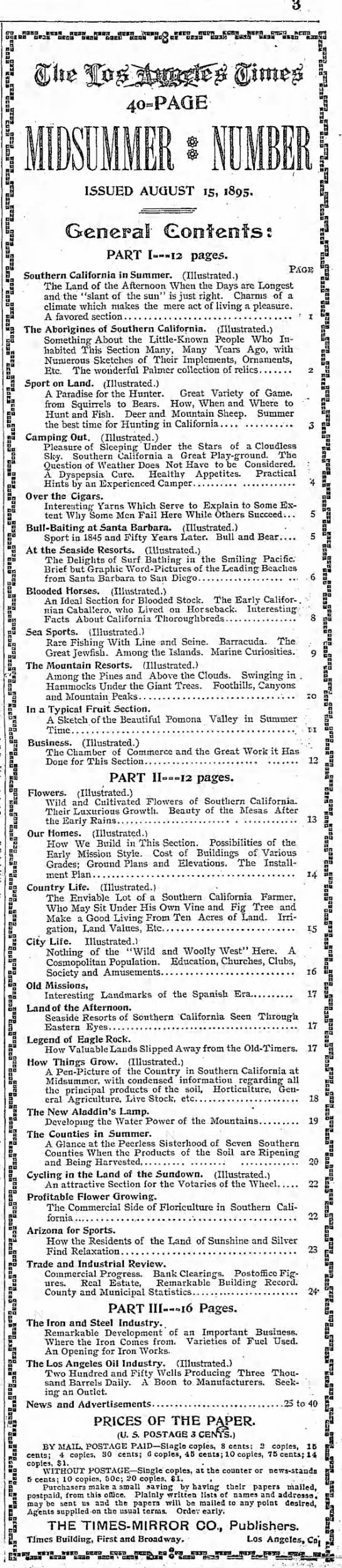 """Table of contents for Los Angeles Times' 1895 Midsummer Number - S3. BSM2,35'I""""Si!n5MSiIiS""""""""2S!1!""""3na'J""""Sc2..."""