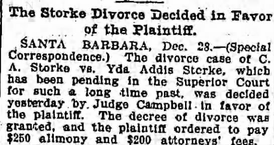 The Storke Divorce Decided in Favor of the Planfiff - The Storke Divorce Decided in Paver . . . pf...