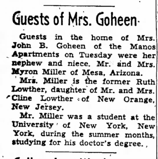 mrs john b goheen article dated 14 aug 1953 - Guests of Mrs. Goheen- Guests in the home of...