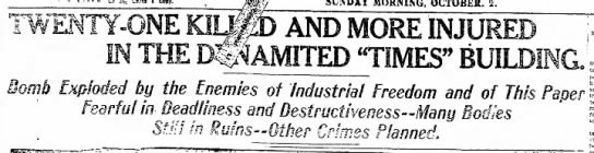 """Headline about the 1910 LA Times bombing - , eopy. MORNING, OCTOBER. 2. --""""wtii- --""""wtii-..."""