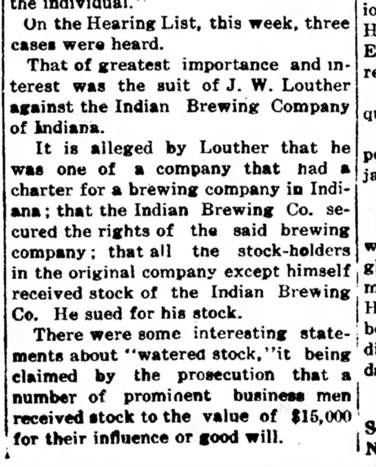 """JW Louther Brewing1906 Indiana PA - Indiana of Mr. Mrs. the individual."""" On the..."""