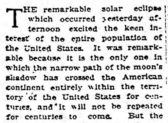 Remarkable because of the path - THE remarkable solar ecllpw which occurred...