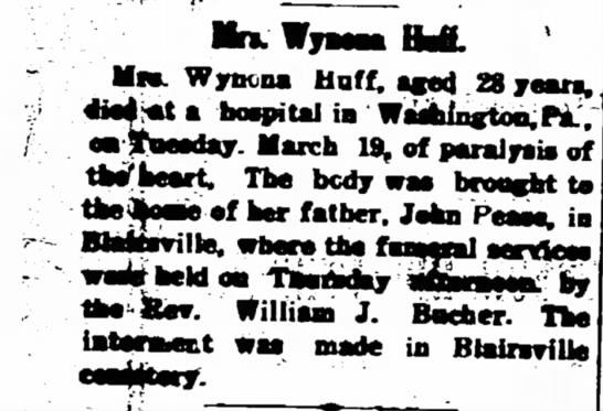 Wynona Pease Huff - MnW; MSB. Wyncna Huff, aged 28 years. hospital...