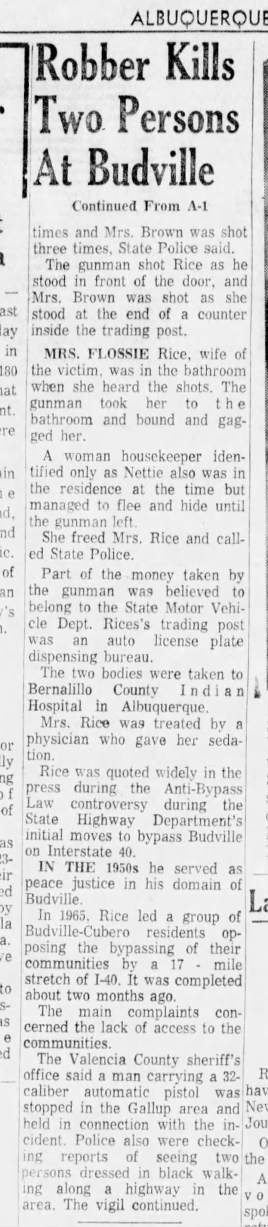 Bud Rice, Killed (page 2) Budville, NM November 19, 1967 - ALBUQUERQUE east in 180 of an f of Robber Kills...