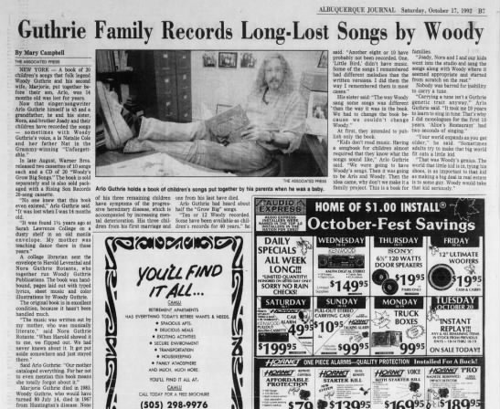 Guthrie Family Records Long-Lost Songs by Woody - ALBUQUERQUE JOURNAL Saturday, October 17, 1992...