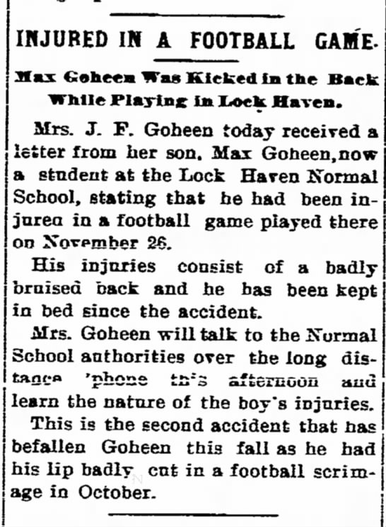 Mrs J.F. Goheen with son Max regarding football injury article dated 2 Dec 1904 - Recognizing the INJURED IN A FOOTBALL GAM'E- M...