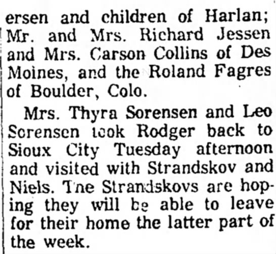 Frode and Niels Strandskov pt 2 - ersen and children of Harlan; and Mrs. Richard...