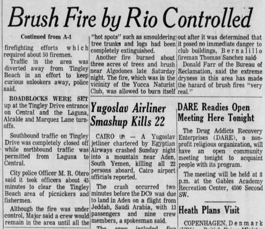 "20 Mar 1972 - Brush Fire by Rio Controlled - pg. 2 - Continued from A-l i ""hot spots"" such as..."