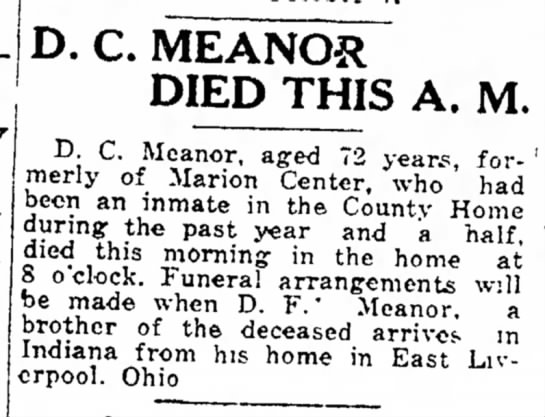 Meanor, Dorsey C. Death - 19 Sept 1926 - Ida Friday D. C. MEANOR DIED THIS A. n f »r...