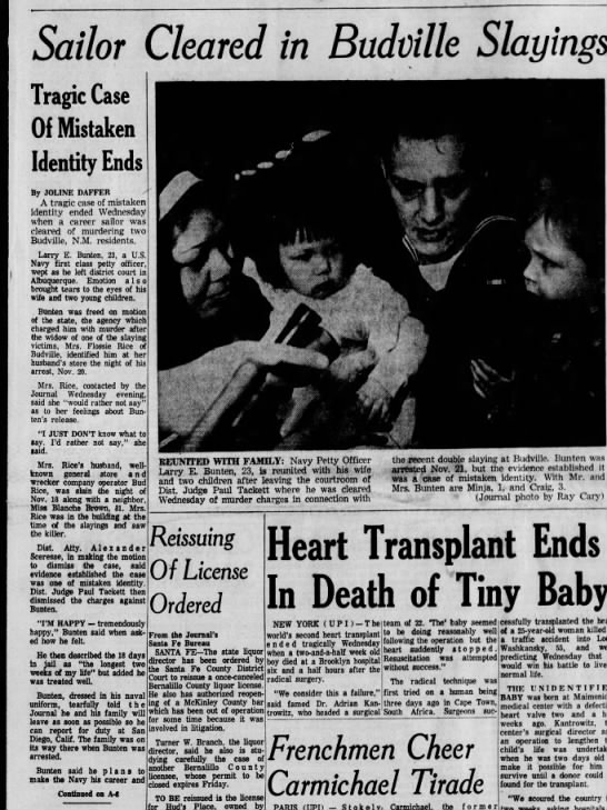 Sailor Cleared in Budville Slayings  Tragic Case of Mistaken Identity December 7, 1967 - 5aor Cleared in Budville Slayings Tragic Case...